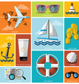 Summer And Travel Flat Icon Set vector image