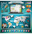 summer travel infographic set with world map vector image