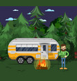 tourist camp poster with travel trailer vector image vector image