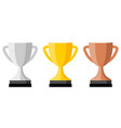 trophy cup icon silver gold and bronze version vector image