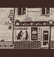 urban landscape with coffee house and love couple vector image vector image