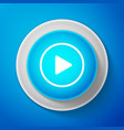 white play icon isolated on blue background vector image vector image