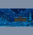 winter landscape with mountains and snow on a blue vector image vector image