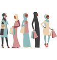 Muslim girls holding shopping bags vector image