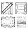 set of wooden box doodles vector image