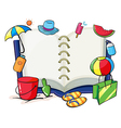 An empty book with the things used during summer vector image vector image