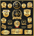 anniversary retro vintage golden badges and vector image vector image