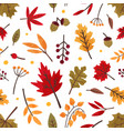 autumn foliage hand drawn seamless pattern vector image vector image