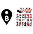 Bitcoin Map Marker Flat Icon with Bonus vector image vector image