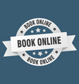 book online ribbon book online round white sign vector image vector image