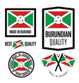burundi quality label set for goods vector image vector image