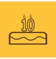 Cake with candles in the form of number 10 icon vector image vector image