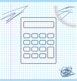 calculator line sketch icon isolated on white vector image vector image