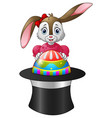 cartoon bunny holding easter eggs in a hat vector image