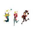 cartoon teen girl students jumping vector image