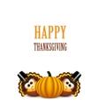 cartoon turkey in a pilgrim hat card vector image vector image