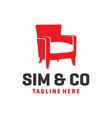 chair furniture logo design vector image