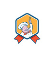 Chef Cook Holding Fork Ribbon Cartoon vector image vector image