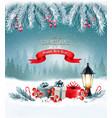 christmas background with a lantern and a vector image vector image