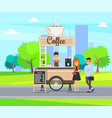 coffee mobile shop with seller in cart on wheels vector image