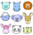 collection stock of animal colorful doodles vector image vector image