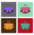 colorful red crab sea creature in flat design vector image