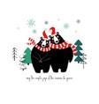 couple of cute hugging bears in winter vector image