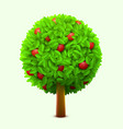 cute apple tree with green leaves and red ripe vector image vector image
