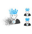 disappearing pixelated halftone king icon with vector image vector image