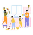 family cleaning house family with kids do vector image vector image