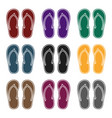flip-flops icon in black style isolated on white vector image