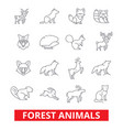 forest animals elk wolf fox rabbit squirrel vector image