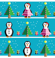 Geometric xmas pattern with peguins vector image