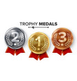 gold silver bronze medals set metal vector image vector image