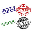 grunge textured 4th of july seal stamps vector image vector image