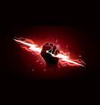 hand holding red lightning vector image