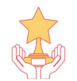 hands with star trophy winner icon vector image vector image