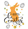 happy easter lettering greeting card vector image