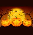 happy halloween banner with three pumkins vector image vector image