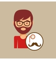 hipster concept mustache and monocle man vector image vector image