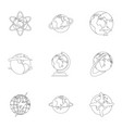 home planet icons set outline style vector image