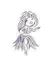 Hula dancer Hawaiian cartoon character vector image vector image
