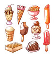 ice cream and dessert hand drawn set vector image