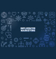 influencer marketing blue line vector image