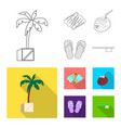 isolated object of pool and swimming sign set of vector image vector image