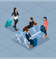 isometric 3d teenager freelancer travelers vector image vector image