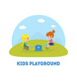 kids playground banner template kids having fun vector image vector image