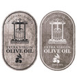 labels for olive oil with oil press and barrel vector image vector image