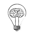 light bulb with brain inside in black blurred vector image vector image