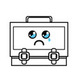 line kawaii cute crying suitcase design vector image vector image